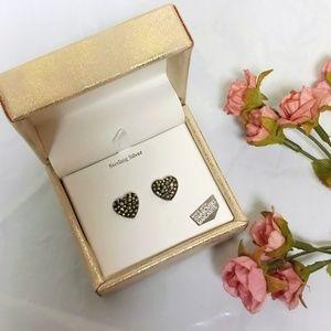 Kanishka Sterling Silver Swarovski Heart Earrings
